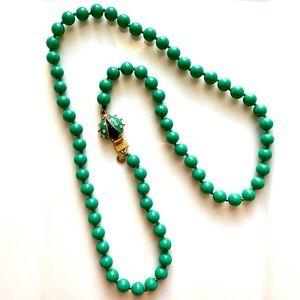 J. Crew Green Ladybug Statement Necklace